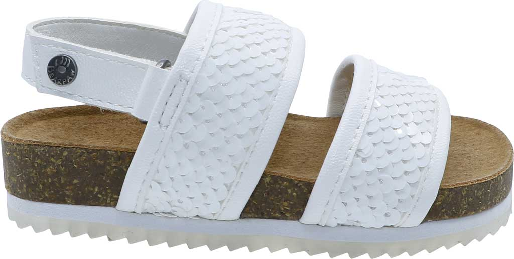 Infant Bearpaw Jemma Toddler Strappy footbed Sandal, White Faux Leather/Sequins, large, image 2