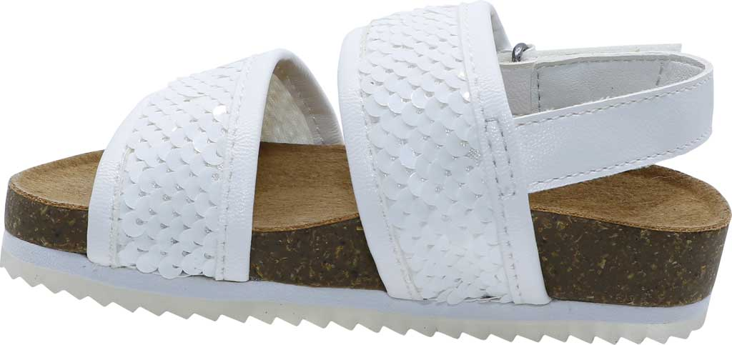 Infant Bearpaw Jemma Toddler Strappy footbed Sandal, White Faux Leather/Sequins, large, image 3