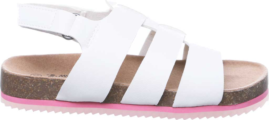 Children's Bearpaw Zaidee Youth Strappy Footbed Sandal, White Faux Leather, large, image 2