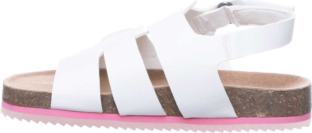 Children's Bearpaw Zaidee Youth Strappy Footbed Sandal, White Faux Leather, large, image 3