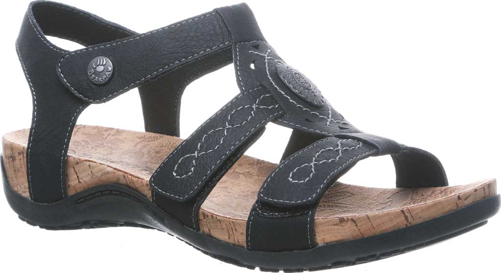 Women's Bearpaw Ridley II Wide Strappy Sandal, Black II Faux Leather, large, image 1