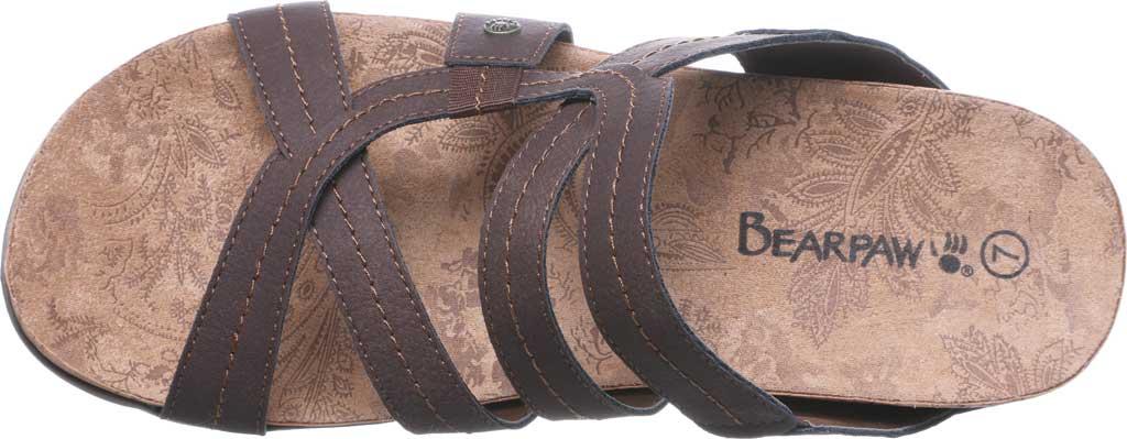 Women's Bearpaw Kai Wide II Strappy Slide, Dark Brown Faux Leather, large, image 5