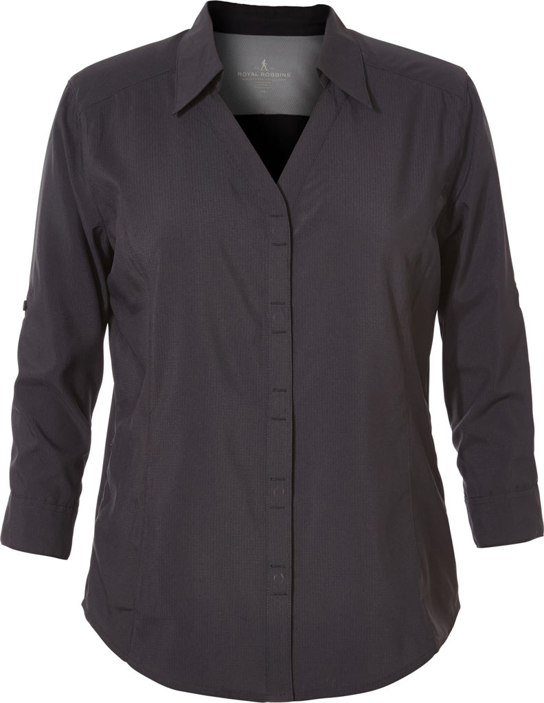 Women's Royal Robbins Expedition Chill Stretch 3/4 Sleeve Shirt, Jet Black, large, image 1