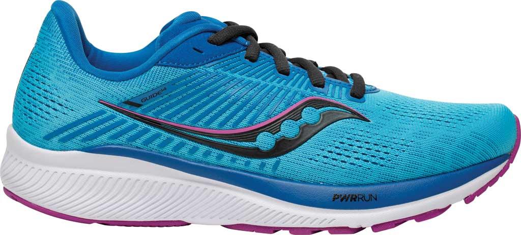 Women's Saucony Guide 14 Running Sneaker, Blue Blaze/Berry, large, image 2