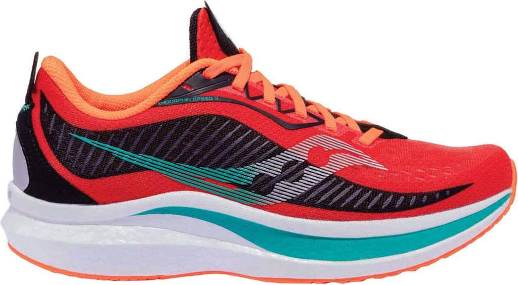 Men's Saucony Endorphin Speed 2 Running Sneaker, Scarlet/Black, large, image 2