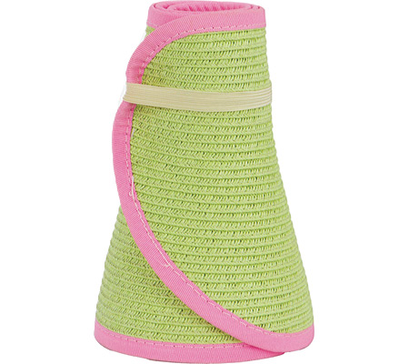 Women's San Diego Hat Company Ultrabraid Large Brim Visor UBV002, Key Lime/Pink, large, image 1