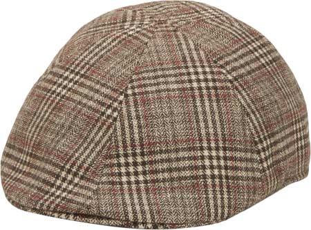 Men's San Diego Hat Company Plaid Ivy SDH2021, Brown, large, image 1