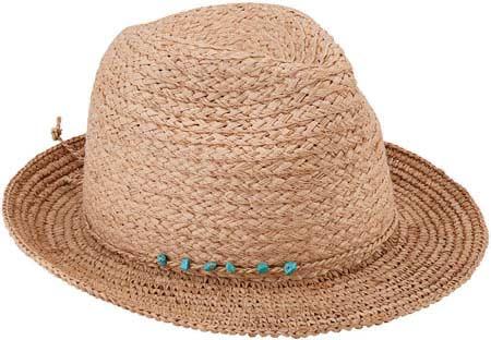 Women's San Diego Hat Company Raffia Wide Brim Fedora RHF6117, Natural, large, image 1
