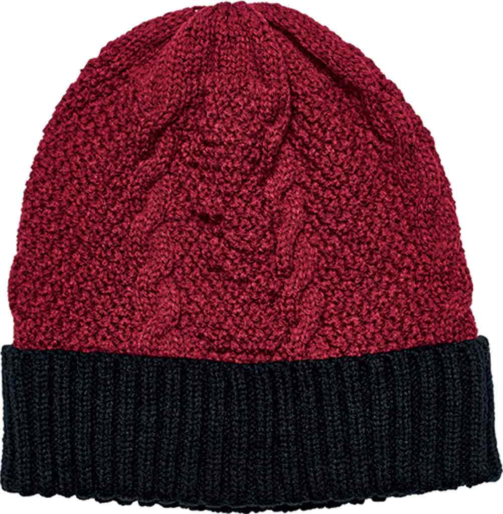 Women's San Diego Hat Company Cable Knit Beanie with Cuff KNH3449, Red, large, image 1