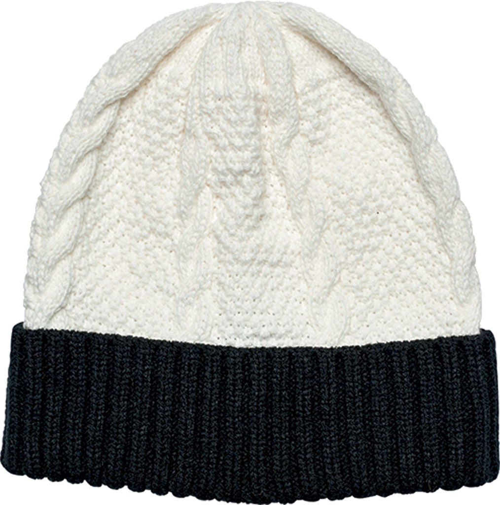 Women's San Diego Hat Company Cable Knit Beanie with Cuff KNH3449, Ivory, large, image 1