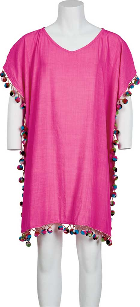 Girls' San Diego Hat Company Tunic with Multi Pom Pom BSK1810, Pink, large, image 1