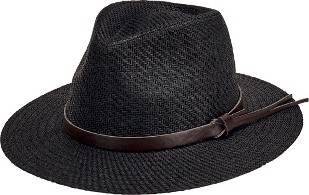 Men's San Diego Hat Company Faux Leather Band Cut and Sew Paper Fedora CTH3561, , large, image 1