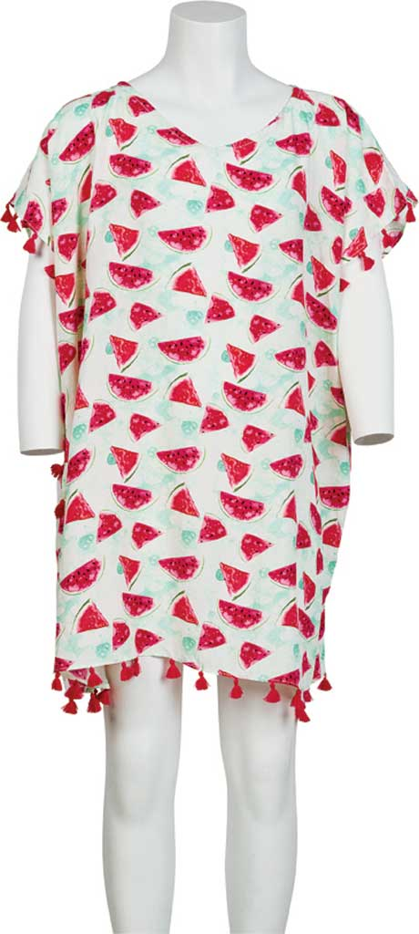 Girls' San Diego Hat Company Tunic with Watermelon Print and Fringe BSK1811, Pink, large, image 1