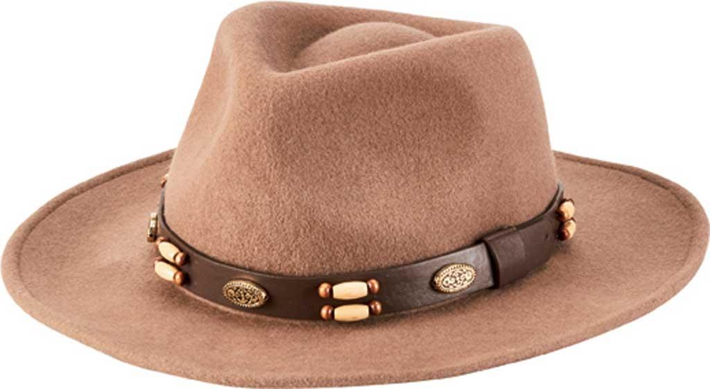 Men's San Diego Hat Company Beaded Band Wool Felt Fedora WFH1205, Camel, large, image 1