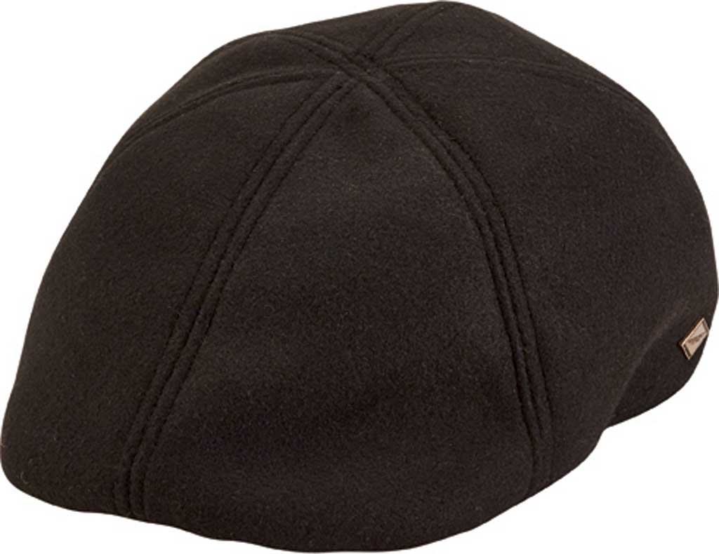 Men's San Diego Hat Company 6-Panel Driver Flat Cap with Back Panel SDH3314, Black, large, image 1