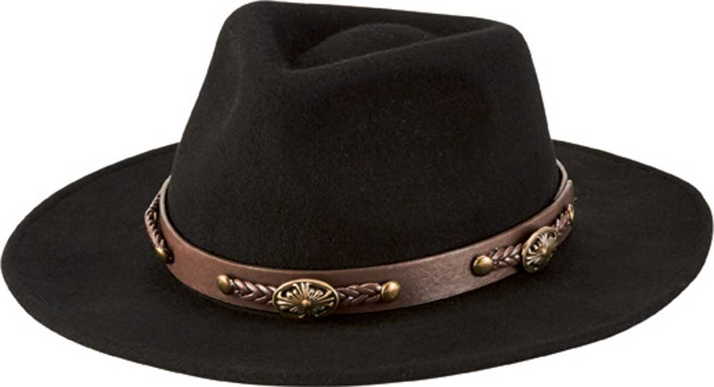 Men's San Diego Hat Company Faux Leather Western Band Fedora WFH1201, Black, large, image 1