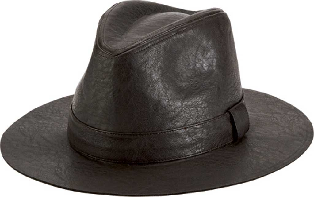Men's San Diego Hat Company Faux Leather Fedora CTH1504, Brown, large, image 1