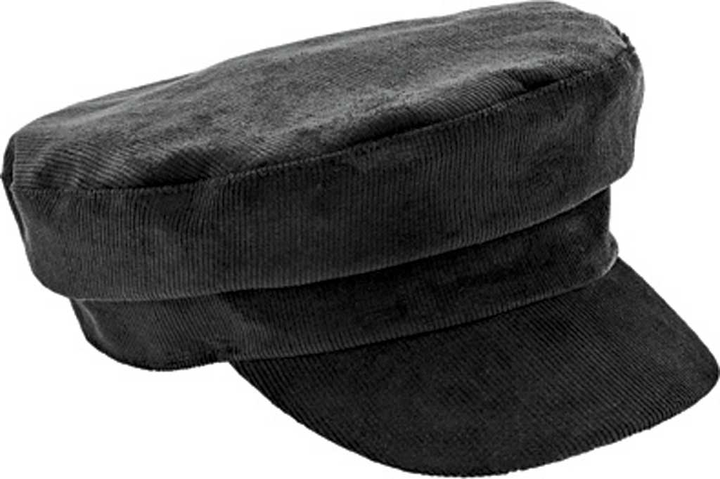 Women's San Diego Hat Company Greek Fisherman Cord Cap CTH8162, Black, large, image 1