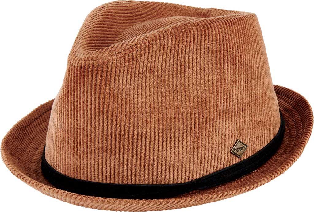 Men's San Diego Hat Company Corduroy Pork Pie Fedora SDH3328, Tobacco, large, image 1
