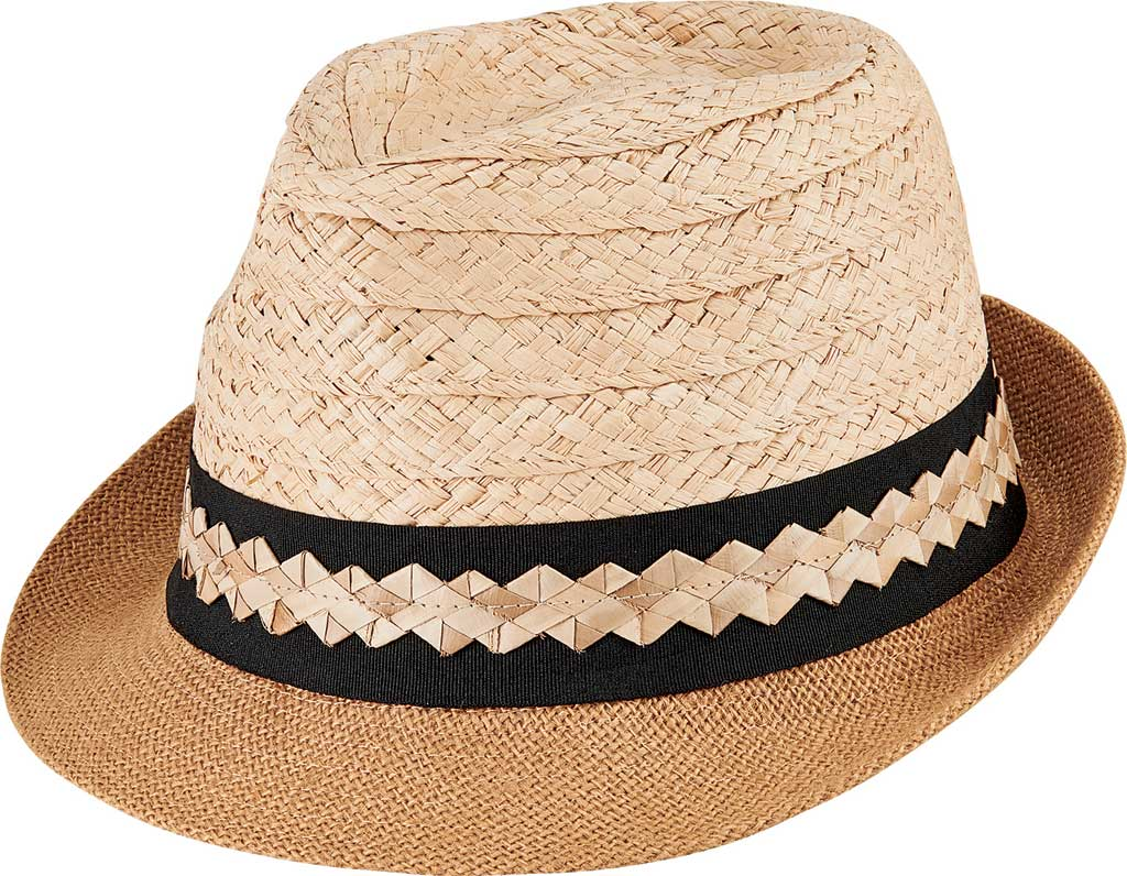 Men's San Diego Hat Company Cut & Sew Raffia & Jute Fedora PBF7351, Natural, large, image 1