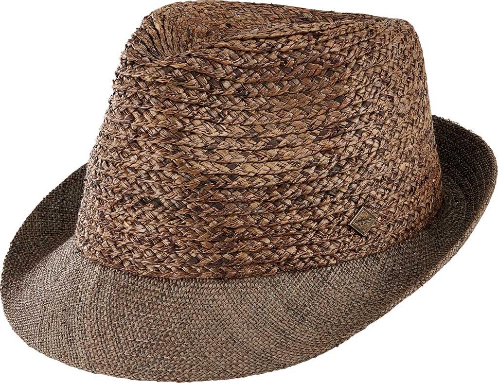 Men's San Diego Hat Company Raffia Braid Fedora with Triple Linen Band SDH9558, Brown, large, image 1