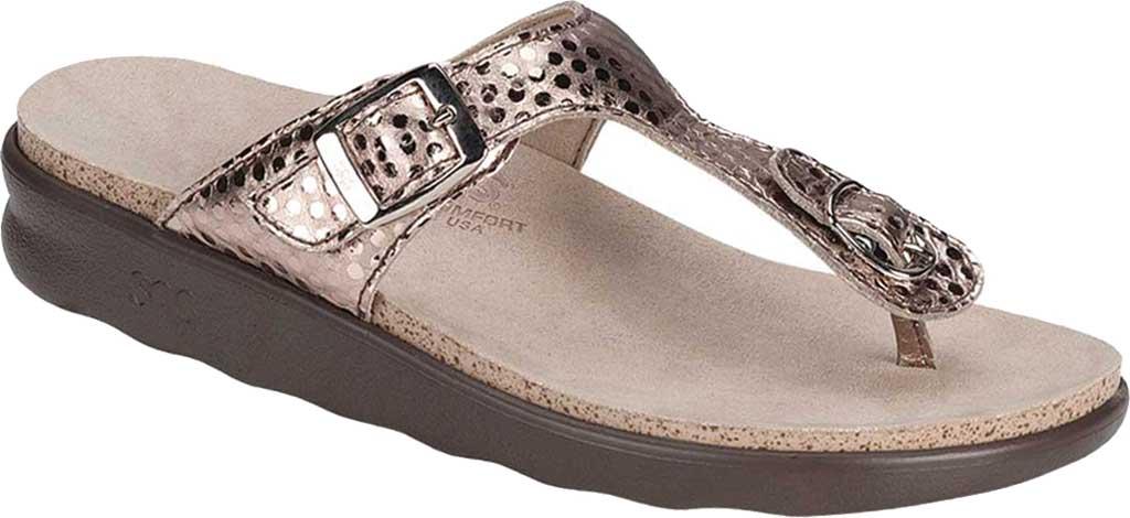 Women's SAS Sanibel Sandal, Oro Laminate Foil Leather, large, image 1