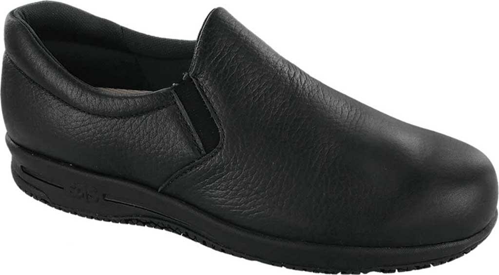 Women's SAS Patriot Slip-Resistant Slip-On Shoe, Black Leather, large, image 1