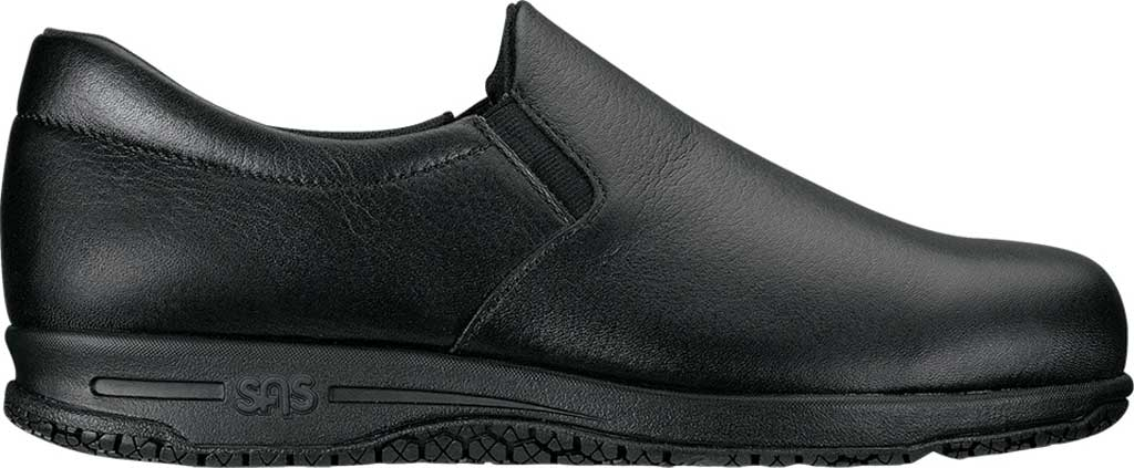 Women's SAS Patriot Slip-Resistant Slip-On Shoe, Black Leather, large, image 2