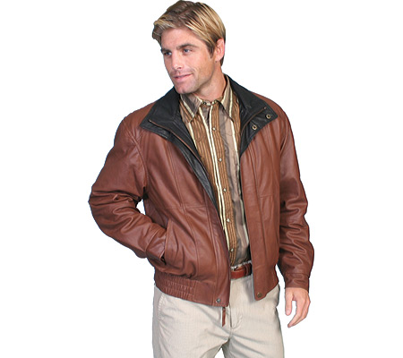 Men's Scully Featherlite Leather Jacket w/ Double Collar 48 Tal, , large, image 1