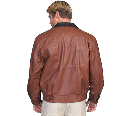 Men's Scully Featherlite Leather Jacket w/ Double Collar 48 Tal, , large, image 2