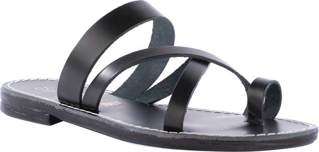 Women's Seychelles So Precious Toe Loop Sandal, Black Leather, large, image 1