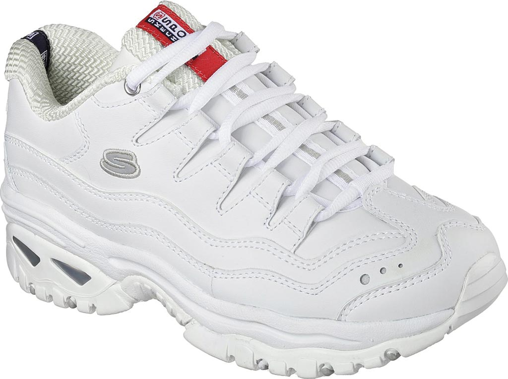Women's Skechers Energy Sneaker, White Leather/Silver Trim (WML), large, image 1