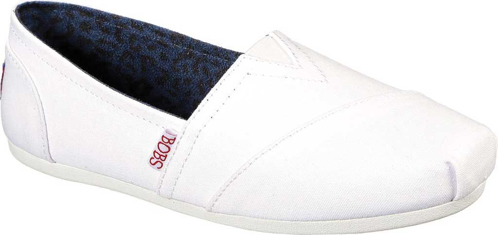 Women's Skechers BOBS Plush Peace and Love, White/Red/Navy, large, image 1