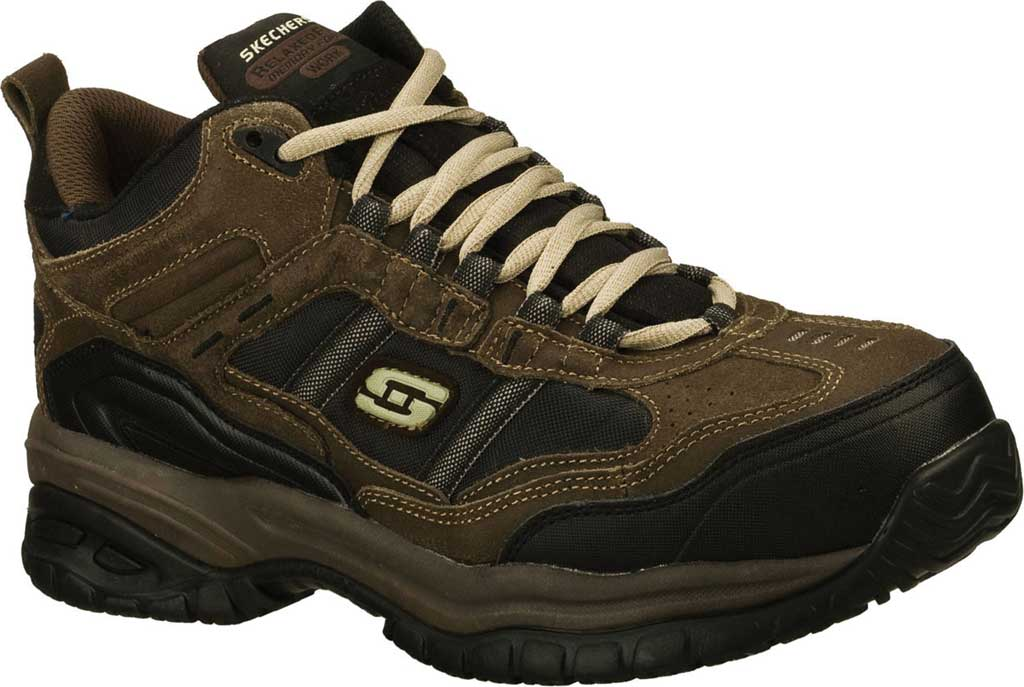 Men's Skechers Work Relaxed Fit Soft Stride Canopy Composite Toe, Brown/Black, large, image 1