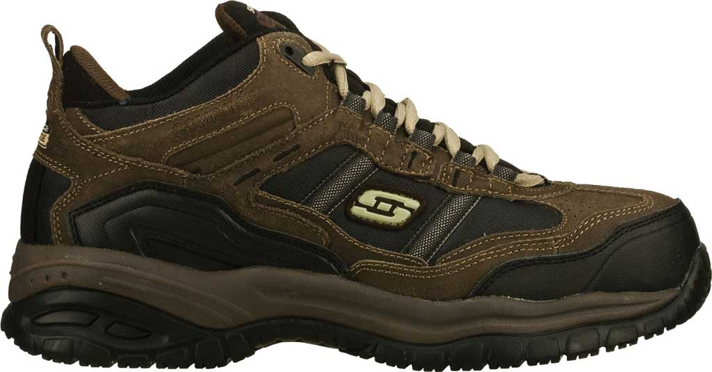 Men's Skechers Work Relaxed Fit Soft Stride Canopy Composite Toe, Brown/Black, large, image 2