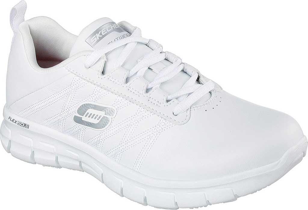 Women's Skechers Work Relaxed Fit Sure Track Erath SR Shoe, White, large, image 1