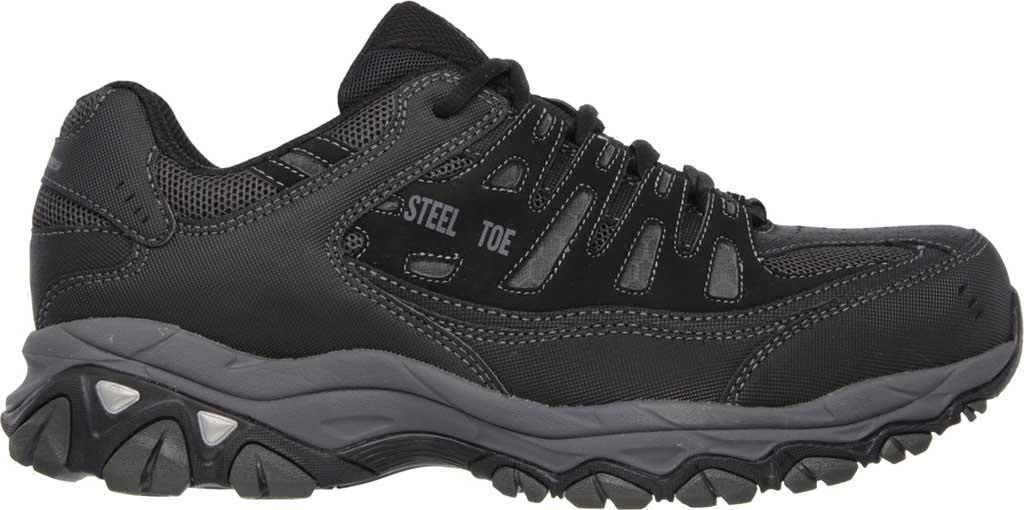 Men's Skechers Work Relaxed Fit Crankton Steel Toe Shoe, Black/Charcoal, large, image 2