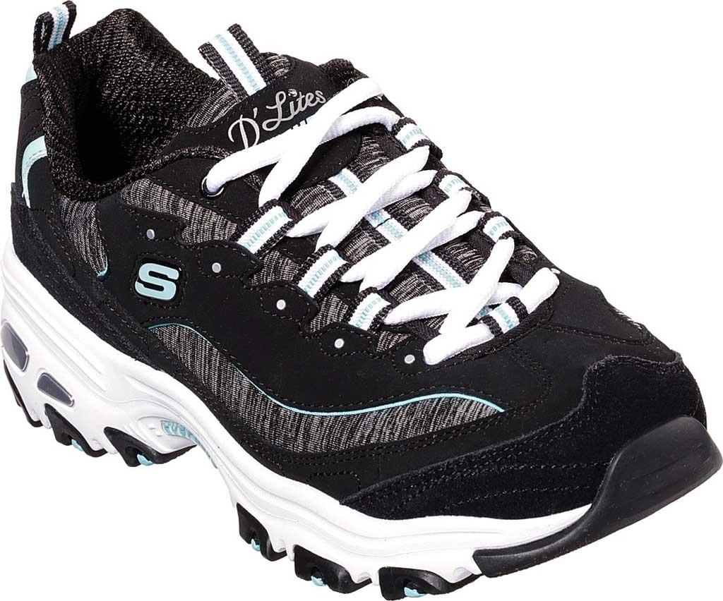 Women's Skechers D'Lites Sneaker, Black/Turquoise, large, image 1
