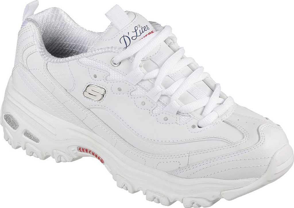 Women's Skechers D'Lites Sneaker, White/Navy/Red, large, image 1