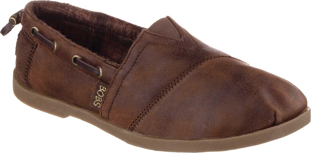 Women's Skechers BOBS Chill Luxe Buttoned Up Alpargata, Brown, large, image 1