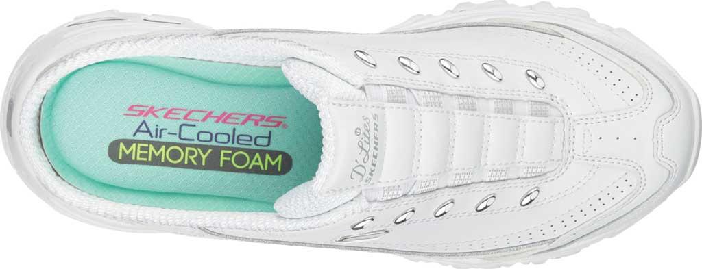 Women's Skechers D'Lites Bright Sky Backless Sneaker, White/Silver, large, image 5