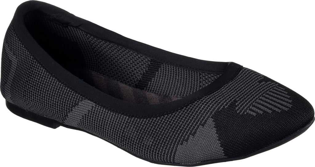 Women's Skechers Cleo Wham Flat, Black/Charcoal, large, image 1