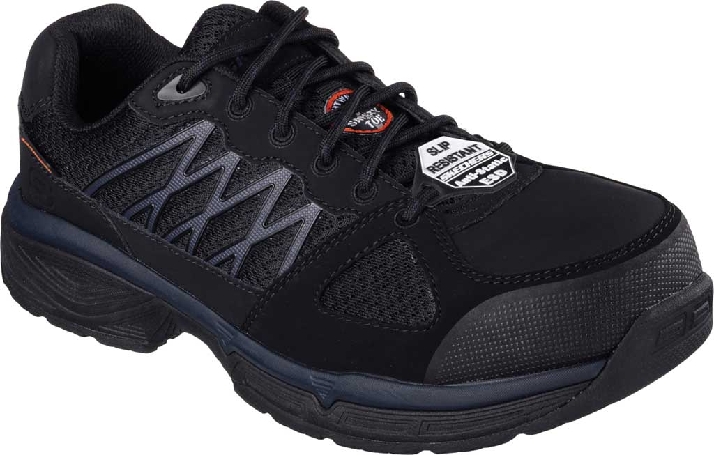 Men's Skechers Work Relaxed Fit Conroe Searcy ESD Work Sneaker, Black, large, image 1