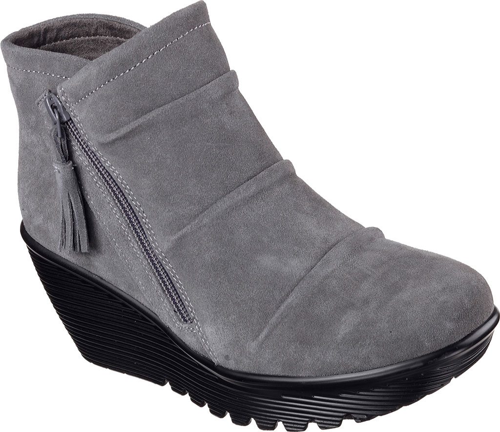Women's Skechers Parallel Triple Threat Wedge Bootie, Charcoal, large, image 1