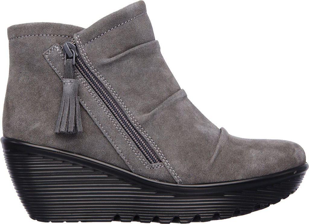 Women's Skechers Parallel Triple Threat Wedge Bootie, Charcoal, large, image 2