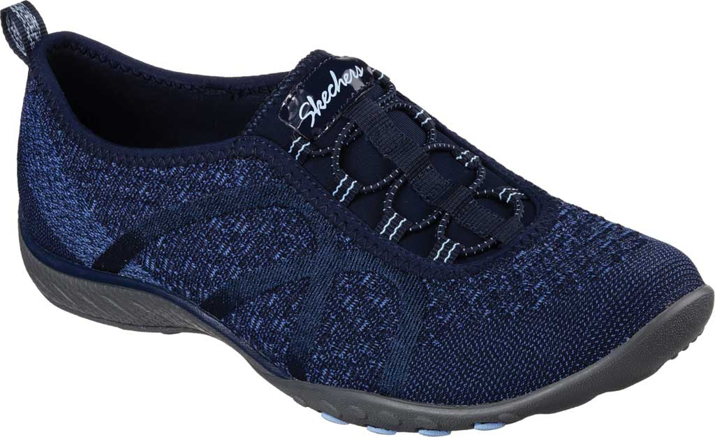 Women's Skechers Relaxed Fit Breathe Easy Fortune Knit Slip On, Navy, large, image 1