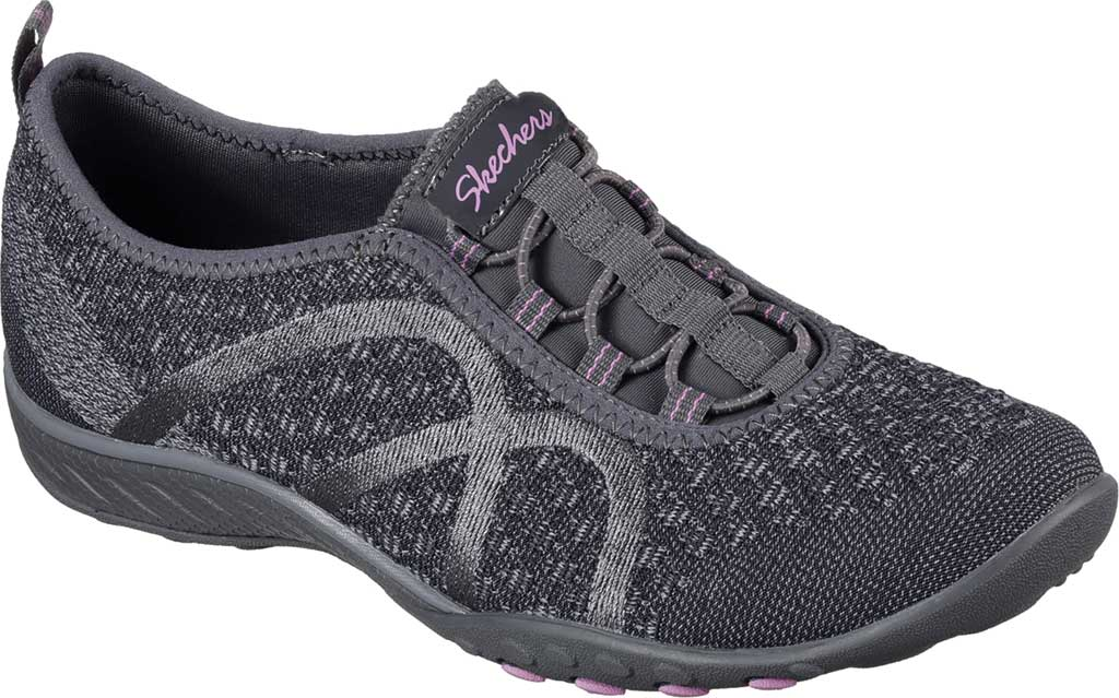Women's Skechers Relaxed Fit Breathe Easy Fortune Knit Slip On, Charcoal, large, image 1