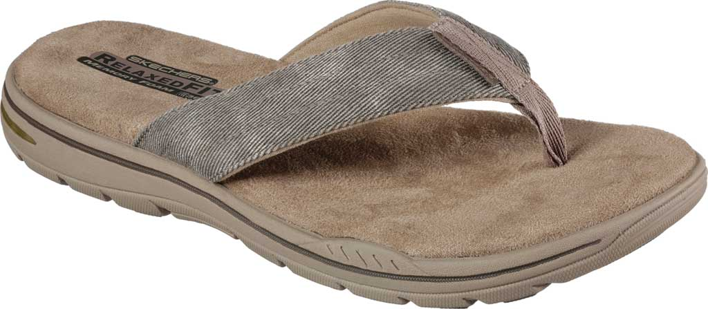 Men's Skechers Relaxed Fit Evented Rosen Thong Sandal, Khaki, large, image 1