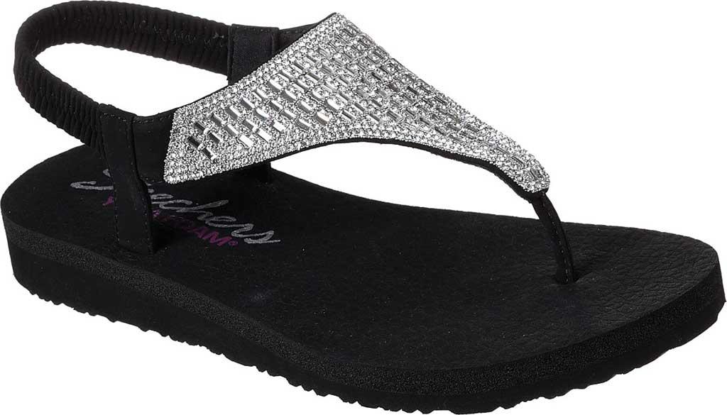 Women's Skechers Meditation Rock Crown Thong Sandal, Black/Silver, large, image 1