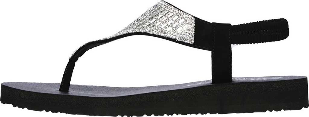 Women's Skechers Meditation Rock Crown Thong Sandal, Black/Silver, large, image 3